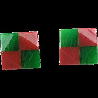 Bakelite clip on Earrings vintage rare carved checkerboard design pink green