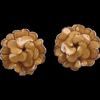 French Francoise Montague Paris clip Earrings vintage resin talosel nude rose