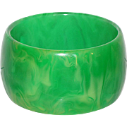 Bakelite Bracelet Bangle Vintage Rare Green Grass Marble Extra Wide Shape