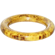 Vintage Bakelite Bangle Bracelet butterscotch black marble rare chunky thick wall