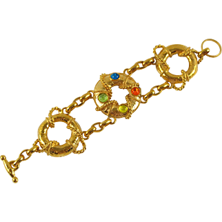 French Designer Mercedes Robirosa Vintage Nautical Link Bracelet Gripoix glass cabochon