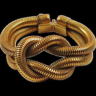 Rare Anne Marie Beretta Paris Oversized Gilt Metal Snake Chain Bracelet