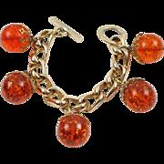 Vintage Orangeade Prystal Bakelite Bead Charm Bracelet with Gilt Chain