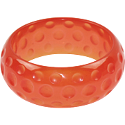 Transparent Pink Watermelon Bakelite Bracelet Bangle Deep Dots Carving