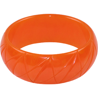 Papaya Orange Marble Bakelite Bracelet Bangle Geometric Striped Carving