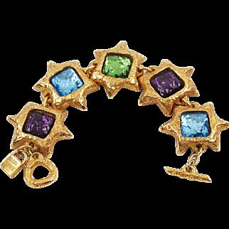 French Designer Alexis Lahellec Link Bracelet Vintage Massive Colorful Cabochon