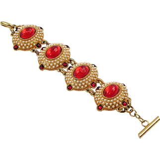 Rare French Chantal Thomass Paris signed Jeweled Link Bracelet vintage pearl-imitation red cabochon
