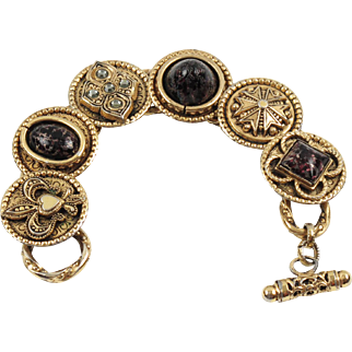Zoe Coste Paris Medieval Link Bracelet Vintage Gold-Tone Poured Glass Cabochon
