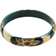 Vintage French Art Deco Celluloid Bracelet Bangle floral carved teal black white