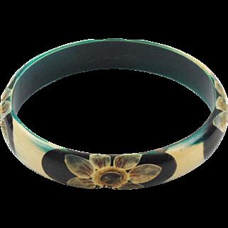 Vintage French Art Deco Celluloid Bracelet Bangle floral carved teal black white