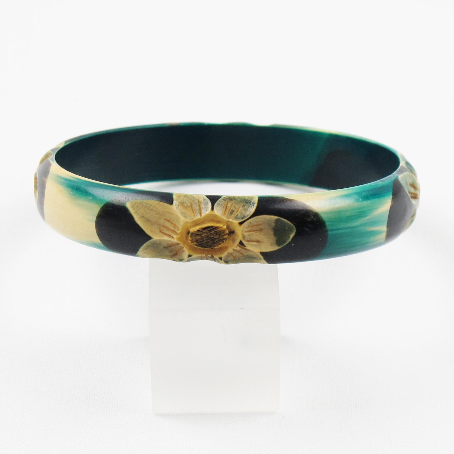 Vintage french art deco celluloid bracelet bangle floral carved teal from iri - Boutique deco vintage ...