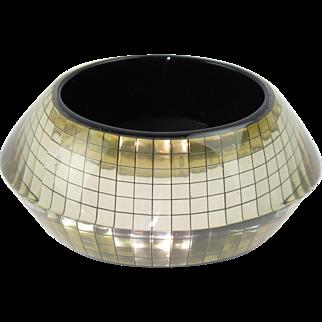 Space Age Clear Lucite Bracelet Bangle Mirror Inclusions Saucer Shape