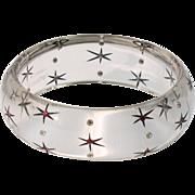 Lucite Bracelet Bangle by Augusta G. Paris Clear Star Rhinestone Design