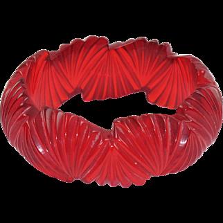 Transparent Candy Apple Red Bakelite Bracelet Bangle Deep Fan Carving