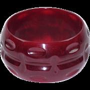 Bakelite Bracelet Bangle Vintage Oversized Deeply Carved Sangria Red Marble Color