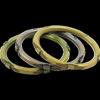 Bakelite Bracelet Bangle Spacer Deep Carved Washed Green Color Set 3 pieces