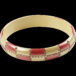 Vintage French Celluloid Bracelet Bangle Geometric Sparkled Rhinestones