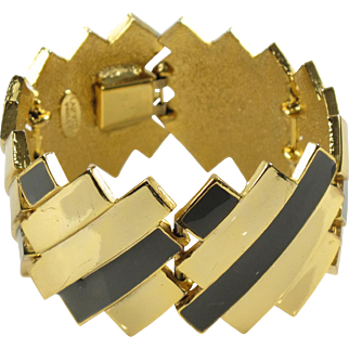 Rare Mid-Century Lanvin Paris Link Bracelet Modernist Gilded Metal & Enamel