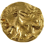 Yves Saint Laurent Paris signed Pin Brooch Pendant vintage mythical lion design