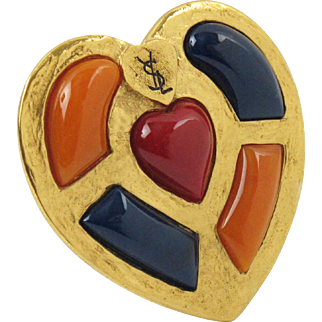 Yves Saint Laurent YSL Paris Signed Pin Brooch Gilt Heart with Cabochon