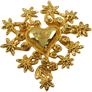 Christian Lacroix Paris Signed Pin Brooch Gilt Metal Heart & Flowers
