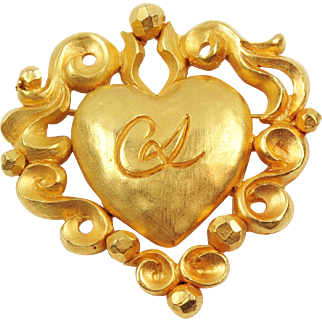 Christian Lacroix Paris Signed Pin Brooch Vintage gold-tone Baroque Heart