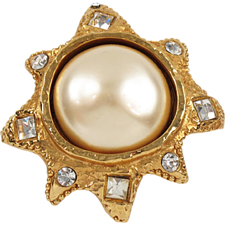 Vintage Alexis Lahellec Paris Signed Pin Brooch Gilt Sun with Large Pearl-like Cabochon