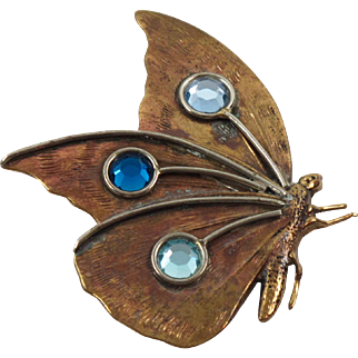 Fabrice Paris Signed Pin Brooch Vintage Copper Butterfly with Blue Rhinestone