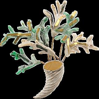 Line Vautrin Paris Talosel Resin Pin Brooch Vintage Cornucopia & Branches Ornate with Mirror