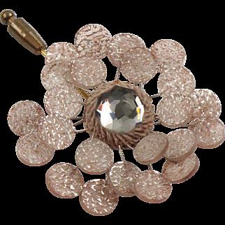 Monique Vedie Paris Talosel Resin Brooch Pin Vintage Light Pink Flower Line Vautrin Student