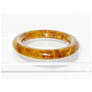 Vintage Rare Deco Wide Bakelite Bracelet butterscotch yolk marble color Bangle