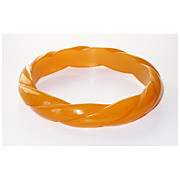Rare Vintage carved Bakelite Bracelet Bangle rope design butterscotch orange