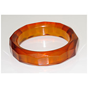Very Rare Vintage Faceted Carved Bakelite Bracelet Bangle chunky Prystal Orangeade
