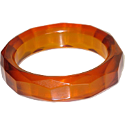 Vintage Bakelite Bracelet Bangle rare chunky faceted carved prystal orangeade