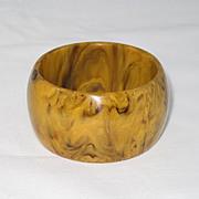 Vintage Bakelite Carved Deco Design Bracelet Butterscotch Brown Marble Bangle
