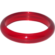 Vintage Bakelite Bangle Bracelet rare transparent prystal red