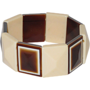 Vintage Lea Stein Stretch Bracelet faux ivory faux tortoise laminated pattern