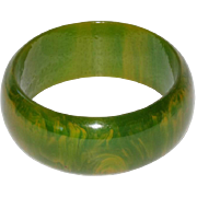 Vintage Bakelite Bracelet Bangle rare spinach green marble