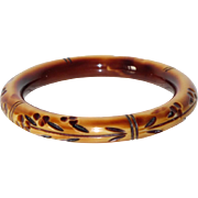 Vintage Celluloid Bracelet Bangle Art Deco carved geometric design cream brown
