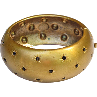 Christian Dior Paris signed Clamper Bracelet Rare Vintage Couture Gilt Metal Rhinestone
