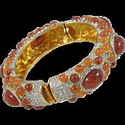 Kenneth Jay Lane Grace Collection Vintage Clamper Bracelet Bangle signed KJL gilt metal rhinestones