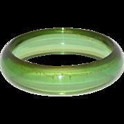 Vintage Bakelite Bracelet Bangle Rare Transparent Green Prystal Quality
