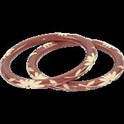 Vintage Galalith Bracelet Bangle spacer shape deep carved purple blush 2 pc