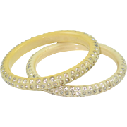 Vintage Celluloid Bracelet Bangle spacer cream white clear rhinestone 2 pc