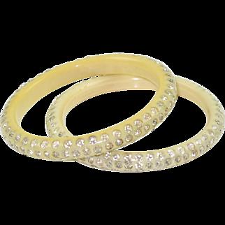 Vintage Celluloid Bracelet Bangle spacer cream white clear rhinestone 2 pc