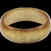 Rare Vintage crystal Lucite Bracelet Bangle gold flakes inclusion