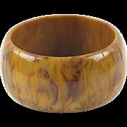 Vintage Bakelite Bracelet Bangle oversized carved sandcastle cinnamon marble