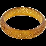 Lucite Bracelet Bangle Vintage Floral Carving Frosted Amber Color