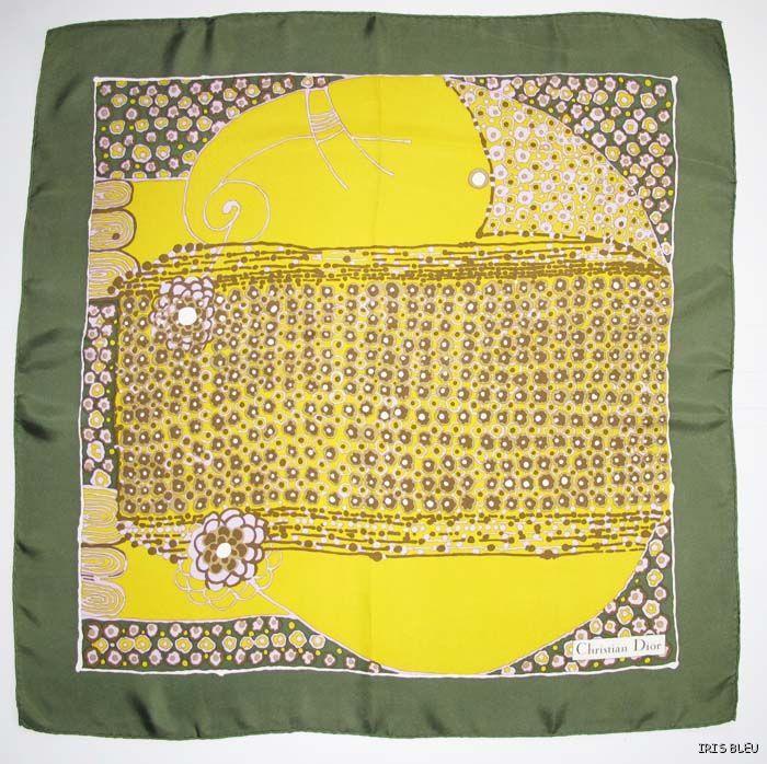 Christian Dior 100% pure silk Scarf vintage 70's floral geometric pattern print
