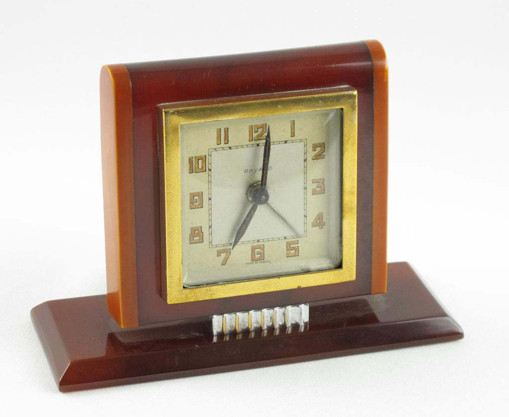 Vintage Art Deco French Bayard Bakelite Alarm Clock Butterscotch Amber marble